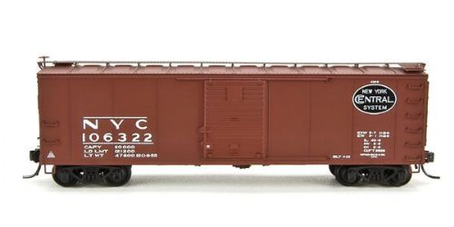 Broadway 3402 NYC 40' Steel Boxcar w/7-8 Corrugated Ends 4-Pack